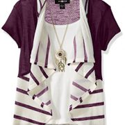 Amy Byer Big Girls' 2fer Stripe Cozy with Necklace, Plum, Large