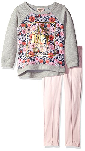 Juicy Couture Big Girls' French Terry Flower Print Top and Pant Set, Pink, 7