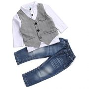 Cute Kids Boys Clothing Shirt and Vest Jeans clothes suit for 2 to 5 Age little Boy(3T)