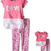 Dollie & Me Big Girls' Knit Mock Layered Tank with Tunic and Floral Legging, Fuchsia/Multi, 8