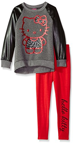 Hello Kitty Big Girls' Legging Set with Pleather Sleeves, Gray, 10