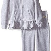 Juicy Couture Big Girls' 2 Piece Velour Hooded Jacket and Pant Set, Gray, 7
