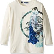 GUESS Big Girls' Viscose Jersey Stretch Screen Print with Sequin Tunic, Eggshell, 8