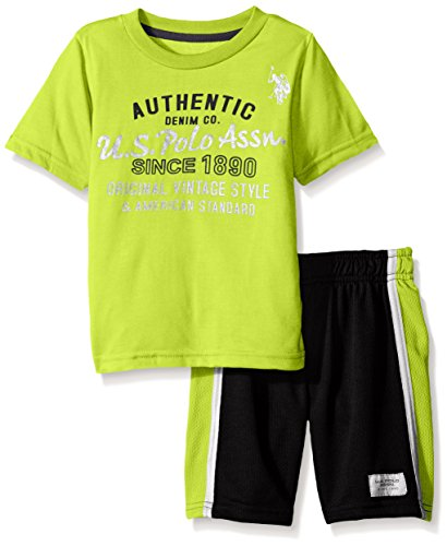 U.S. Polo Assn. Big Boys' Graphic T-shirt and Mesh Sport Short, Lime, 10