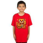 Minecraft Big Boys' Lucky Ocelot Youth T-Shirt, Red Heather, Large